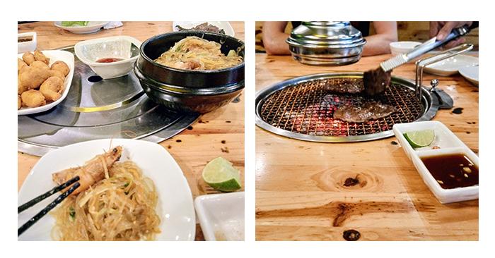 Krevety se skleněnými nudlemi a grilování hovězího přímo na stole v restauraci