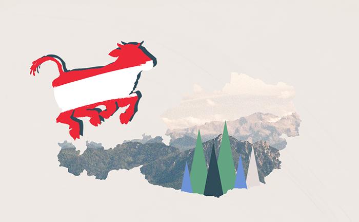 Rakousko. Koláž s běžící krávou a horami